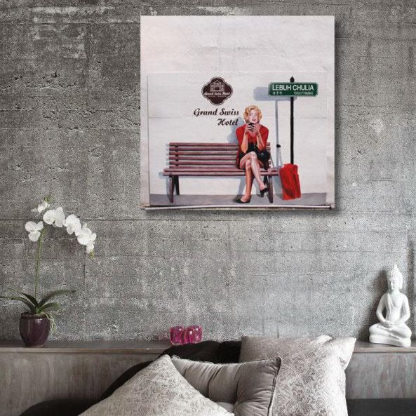 Marilyn Monroe Check in Grand Swiss Hotel in Penang – Graffiti Print on Metal – Limited Edition