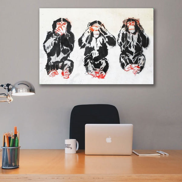Graffiti Three Wise Monkeys (Egypt)  – Extra Large Wall Metal Art Print