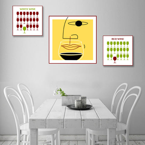 Wine ART. Metal Poster Face with Wine Glass – Digital Art on metal