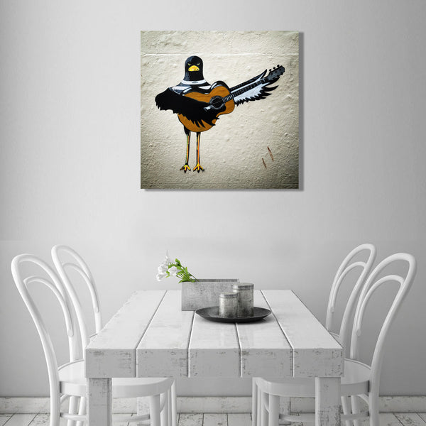 Bird with Gitara – Graffiti Street Art Printed on Metal