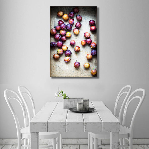 Still Life Plums – Extra Large Kitchen Art Print on Metal