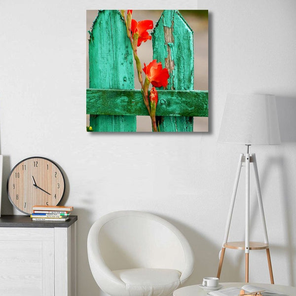 Green Wood Fence with Gladiolus in Grunge style – Photo on Metal