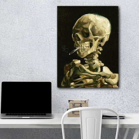 Head of Skeleton with a burning cigarette, Reproduction on metal