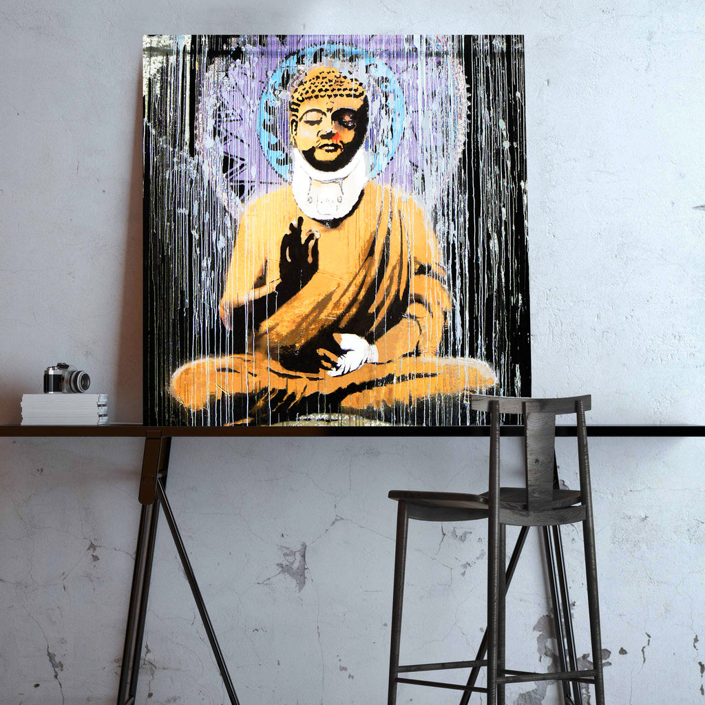 Banksy Injured Buddha, Graffiti Street Art