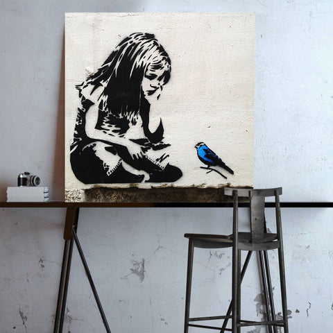 Banksy, Girl with Blue Bird – Graffiti Street Art