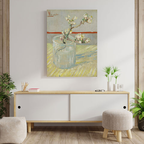 Blossoming Almond Tree Branch in a Glass – Reproduction on Metal