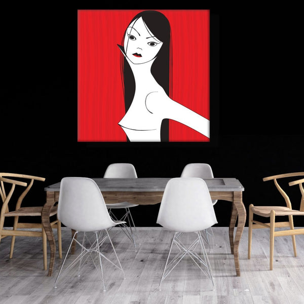 Woman Portrait on Red – Digital Art – Extra Large Wall Metal Art Print