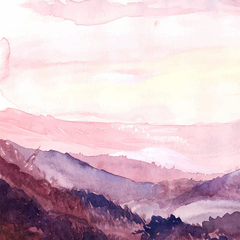 Watercolor Landscape in Pink – Extra Large Metal Art Print