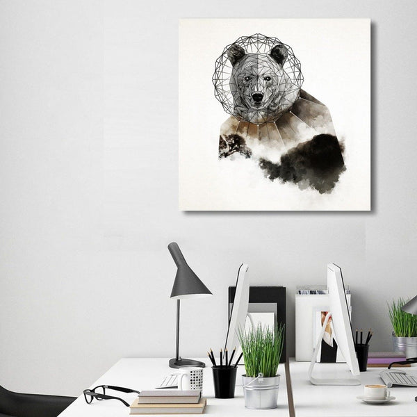 Geo Bear by Fatih Reis, Watercolor Art Printed on Metal