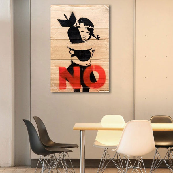 Banksy No Bomb, Graffiti Street Art – Print on Metal