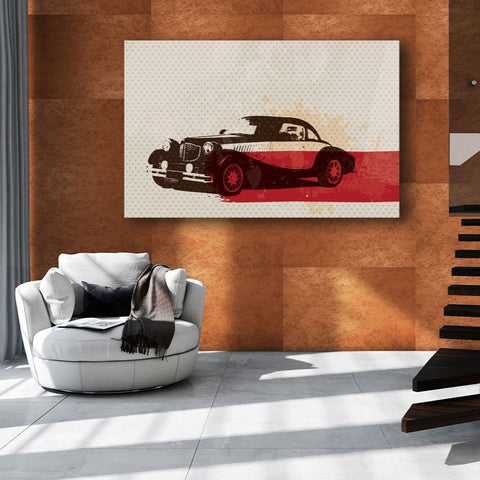 Car in Vintage Style – Extra Large Digital Art on Metal