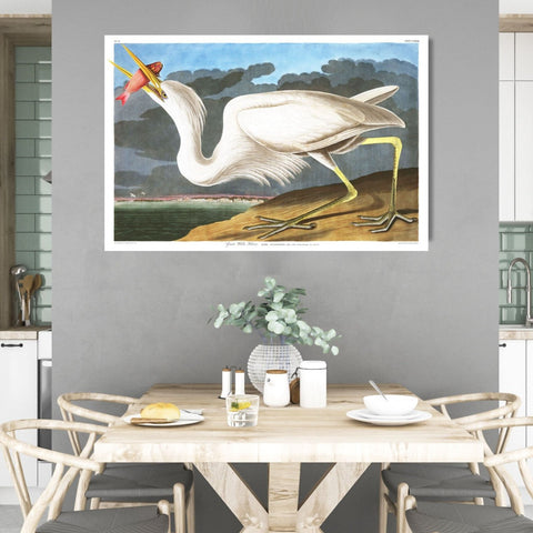 Birds of America, Heron Preston White Heron – Vintage Poster on Metal