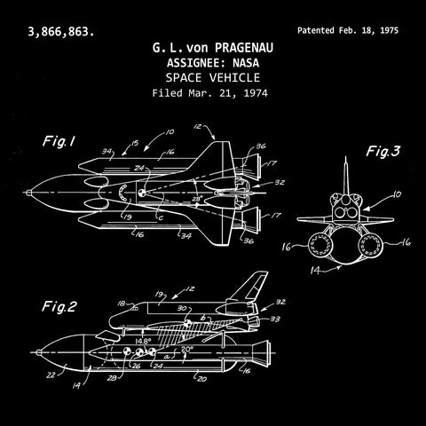 NASA Space Vehicle Shuttle (1975, G. L. von Pragenau) Desktop Patent Print1