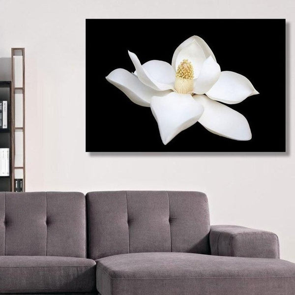 White Flower on Black Background – Modern Minimalism Wall Art