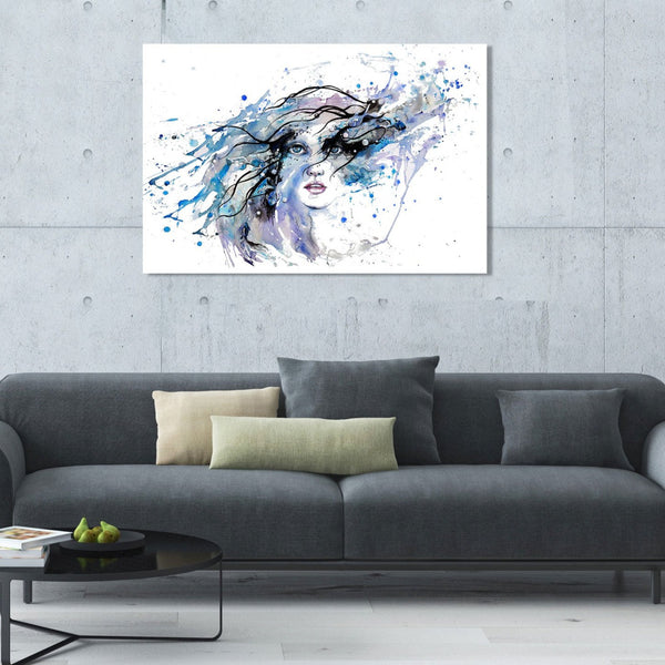 Portrait Woman in blue – Large Art Printed on Metal