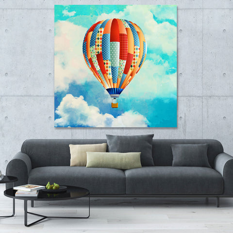 Colored Air Balloon on Sky – Extra Large Digital Art on Metal