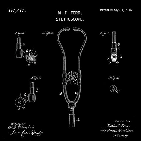 STETHOSCOPE  (1882, W. F. FORD) Patent Print