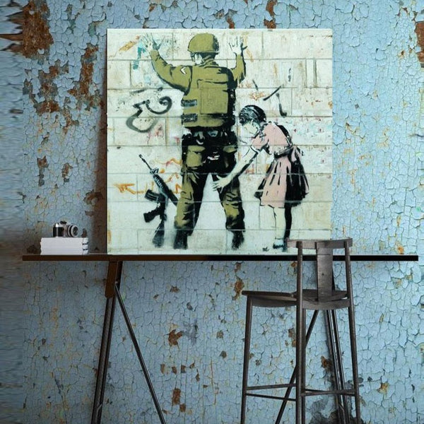 Banksy Girl and Soldier – Graffiti Street Art – Photo Printed on Metal