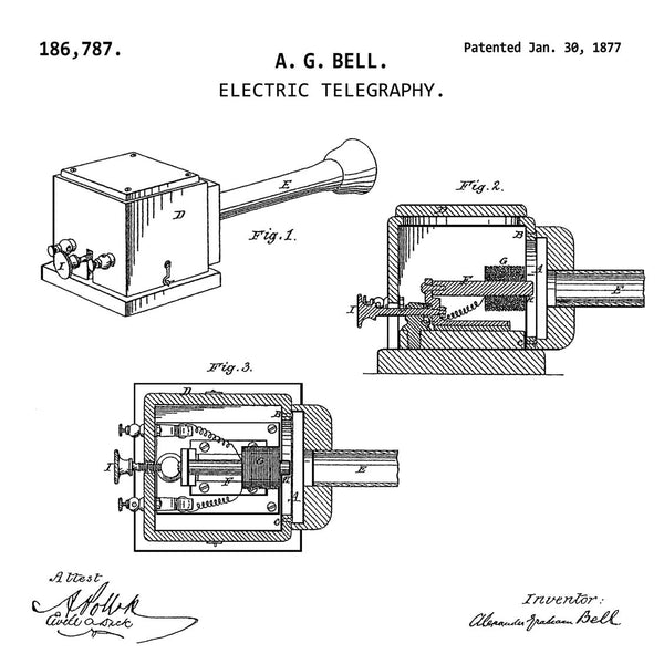 ELECTRIC TELEGRAPHY (1877, A. G. BELL) Patent Print