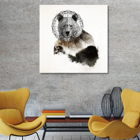 Geo Bear, Watercolor Art – Reproduction on Metal