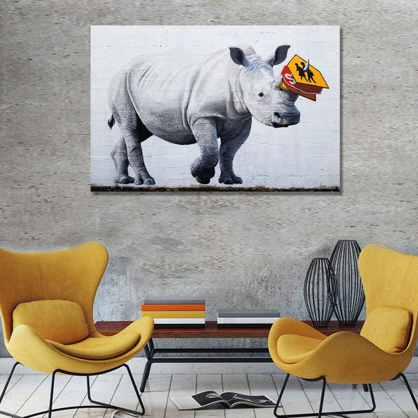 Rhino Traffic – Graffiti Street Art Printed on Metal – Limited Edition