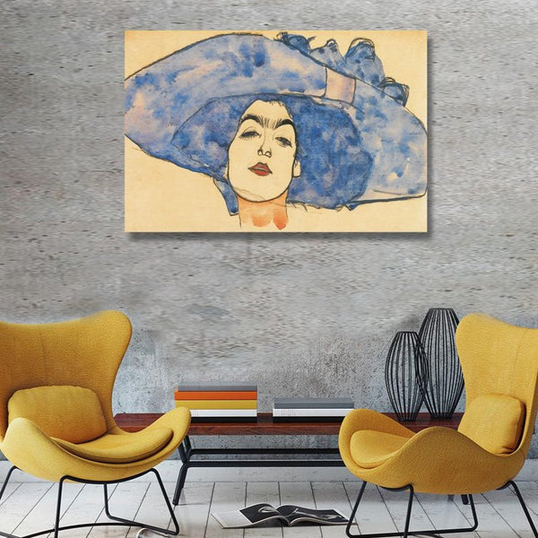 Woman in Blue Hat – Reproduction on Metal