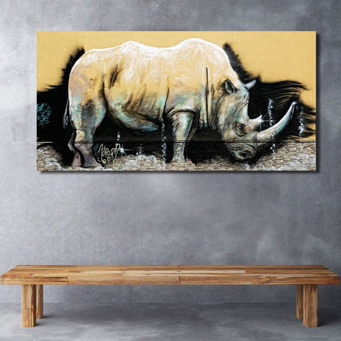 Rhinoceros Unicorn Graffiti Street Art – Metal Poster