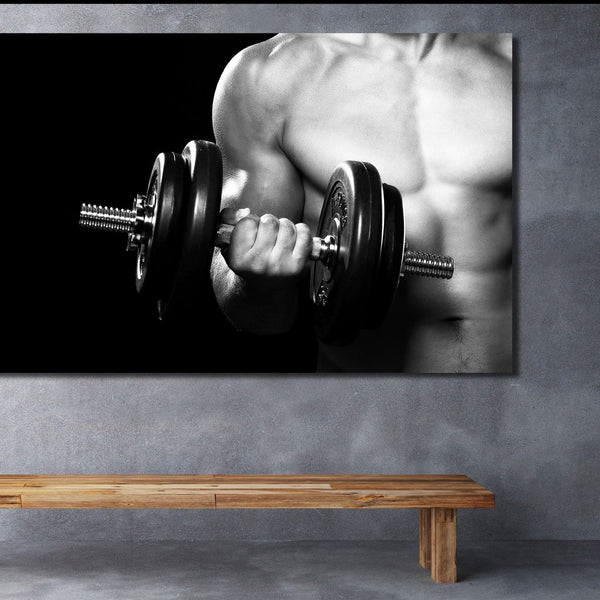 Dumbbell Workout – Multi Panel Extra Large Wall Metal Art Print