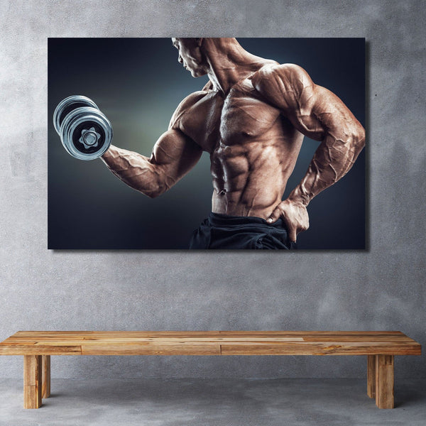 Dumbbell Workout, Extra Large Wall Metal Art – Photo on metal