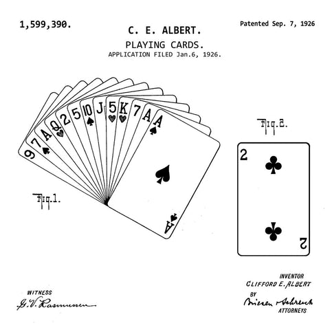 PLAYING CARDS (1926, C. E. ALBERT. Y) Patent Print