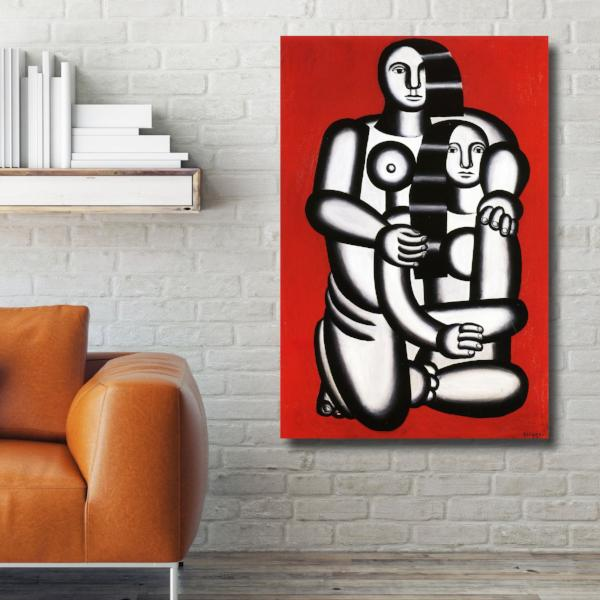 Two Figures Naked On Red – Reproduction on Metal