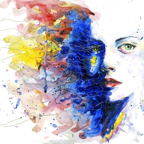 Watercolor Woman's Portrait – Large Metal Print