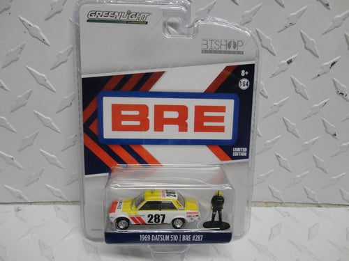 GREENLIGHT Bishop Exclusive Yellow/White 1969 Datsun 510/Bre #287 w/Figure