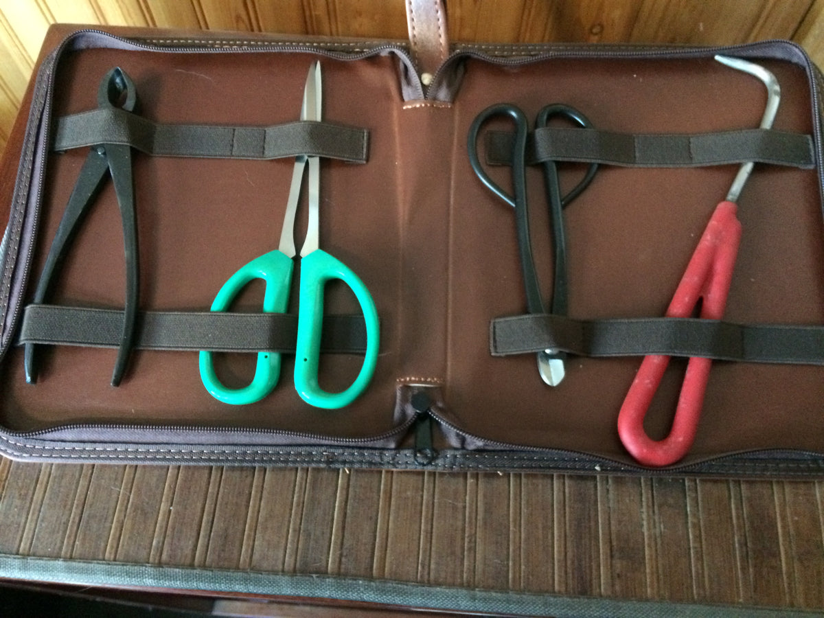 4 Piece Bonsai Tool Set with Zippered Case