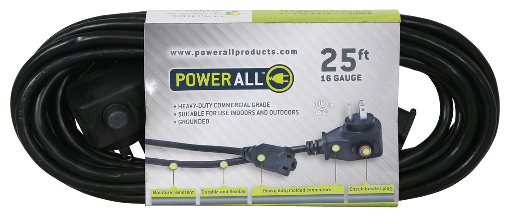 Power All Commercial Grade 125 Volt 25 ft Cord w/ Circuit Breaker -16 Gauge