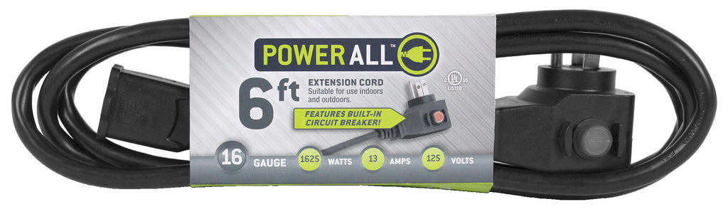 Power All Commercial Grade 125 Volt 6 ft Cord w/ Circuit Breaker -16 Gauge