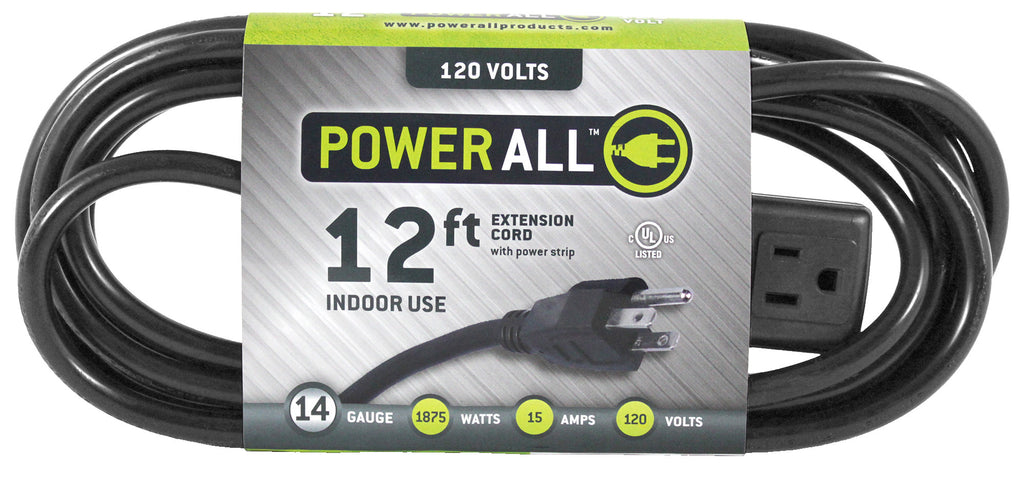 Power All 120 Volt 12 ft Extension Cord w/ 3 Outlet Power Strip - 14 Gauge