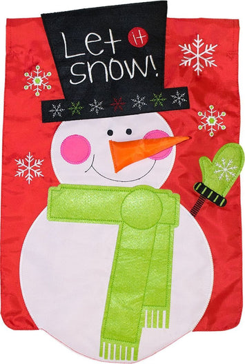 SNOWMAN APPLIQUE DECORATIVE FLAG