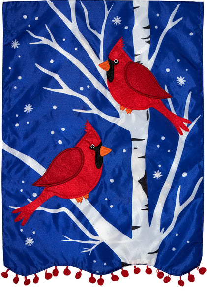 Winter Cardinals Applique Decorative Flag