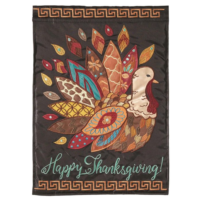 Patterned Turkey Double Applique Garden Flag