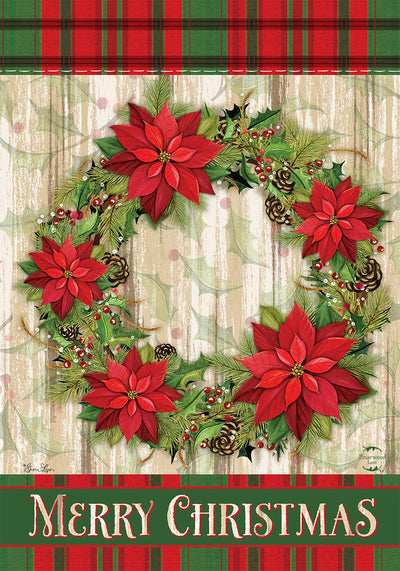 POINSETTIA WREATH DECORATIVE FLAGS