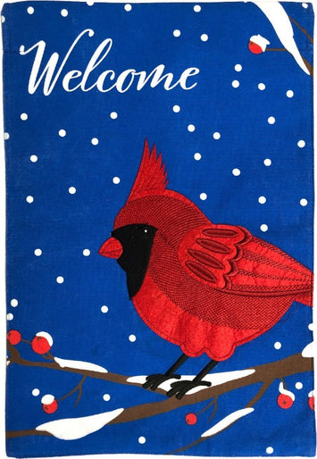 CARDINAL BURLAP WELCOME DECORATIVE FLAG