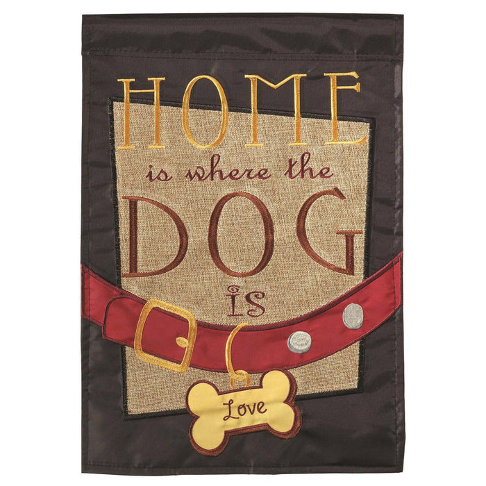 Home Is Where The Dog Is Burlap Garden Flag
