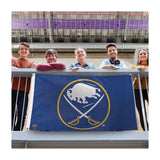 royal blue background with sabres and buffalo logo in the middle
