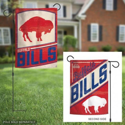 "12.5""x18"" BUFFALO BILLS CLASSIC RETRO LOGO 2-SIDED GARDEN FLAG"