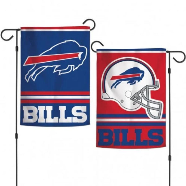 bills garden flag with the charging buffalo on one side and a helmet on the other