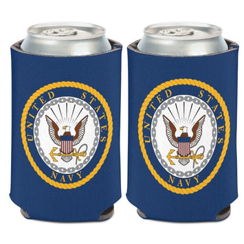 blue can cooler with the united states navy emblem logo on both sides