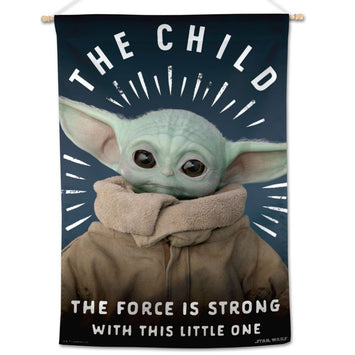 DISNEY STAR WARS THE MANDALORIAN THE FORCE IS STRONG WITH THIS LITTLE ONE BANNER FLAG