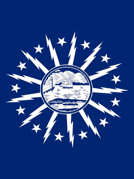 blue flag with the city of buffalo symbol in the center