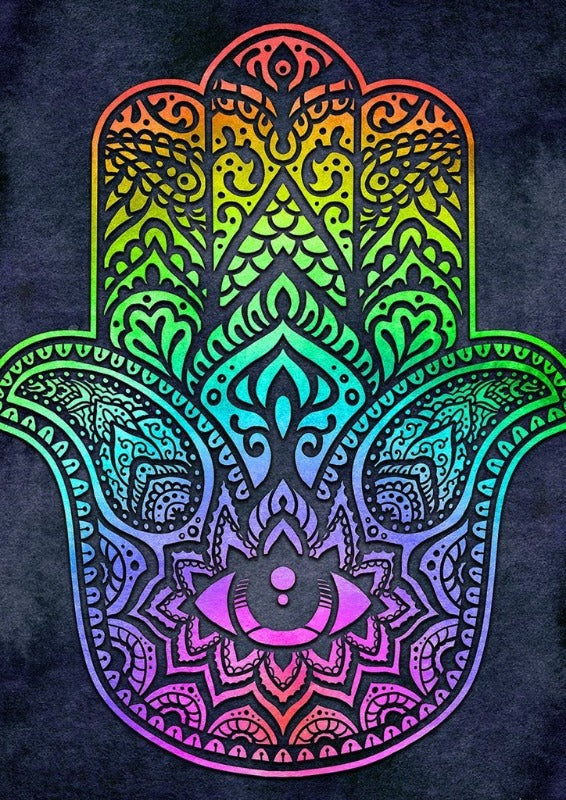 Rainbow Hamsa Decorative Flag
